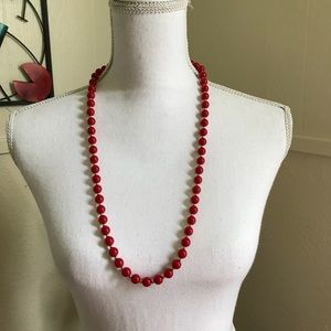 Vintage Monet red bead necklace